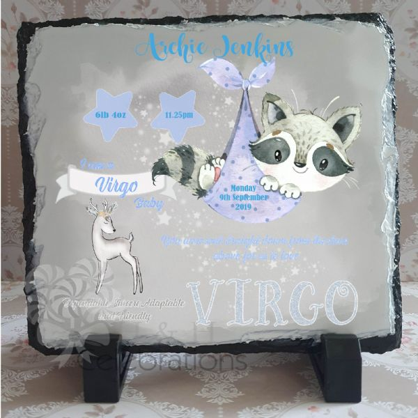Virgo - Baby Star Sign Keepsake Rock Slate